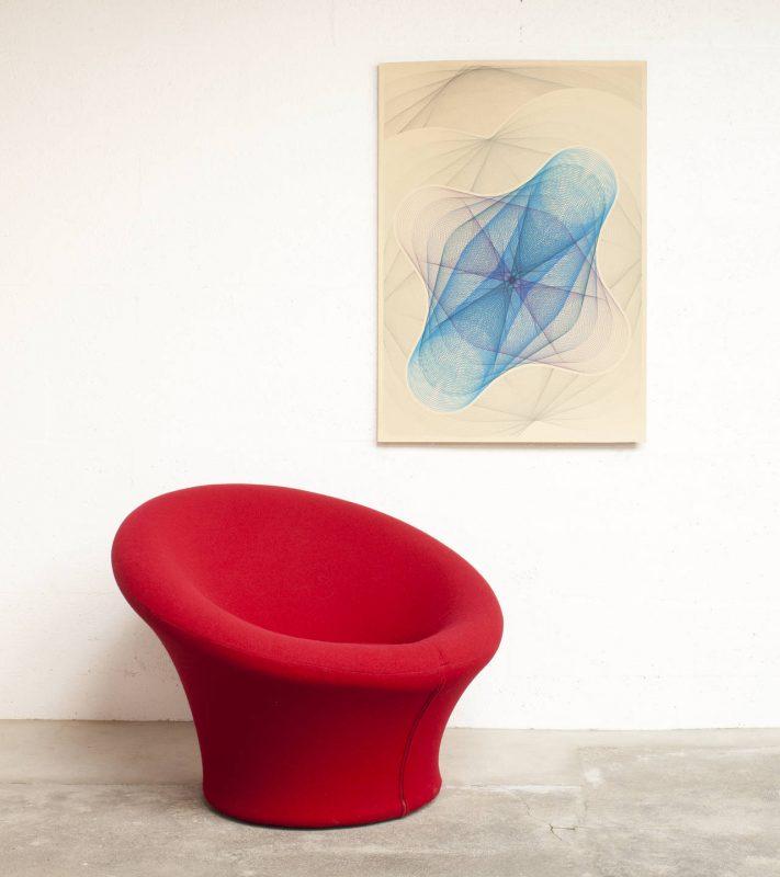 sillón hongo de tela roja