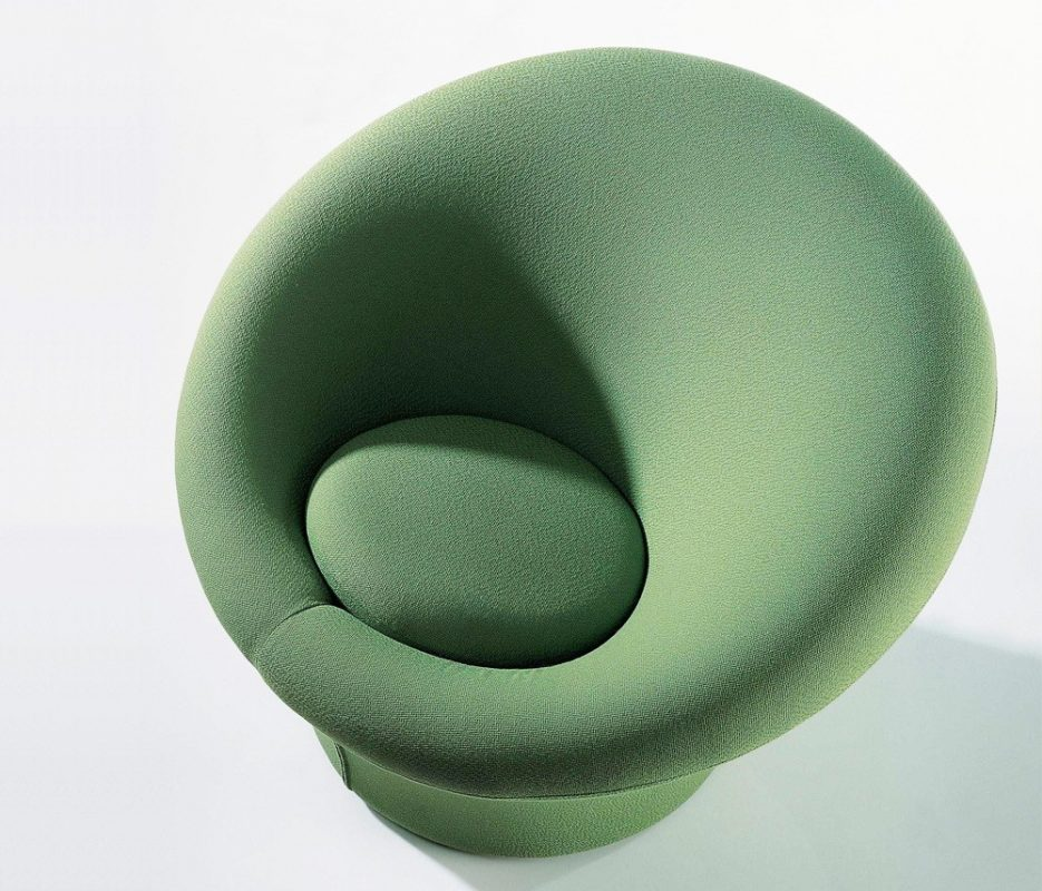 Sillón hongo de tela verde