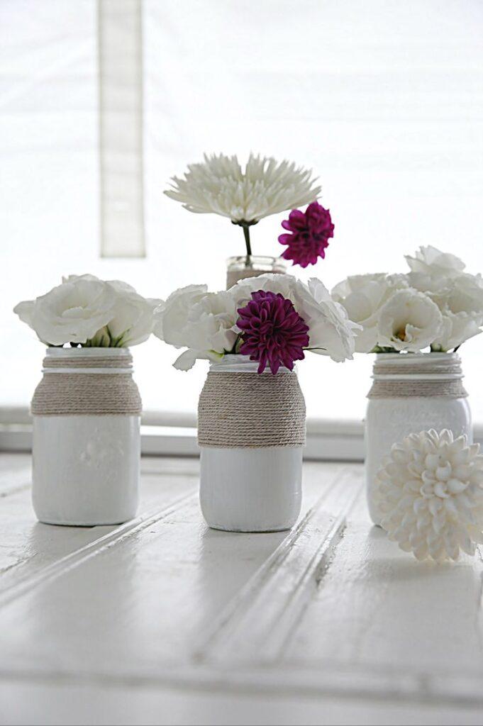 4 ideas para vasos y macetas de vidrio reciclado decorados