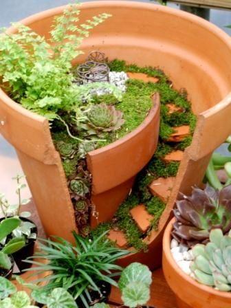reciclaje creativo de macetas rotas 8